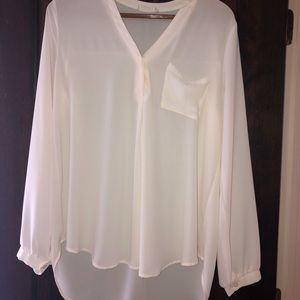 Long sleeve sheer blouse high low